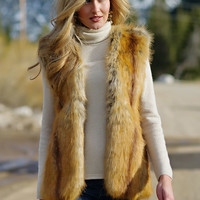 Golden Fox Faux Fur Fashionista Vest | Fabulous-Furs