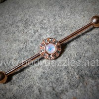 Rose Gold Opal Industrial Barbell 14ga Body Jewelry Scaffold Ear Jewelry Double Piercing Upper Ear Jewelry