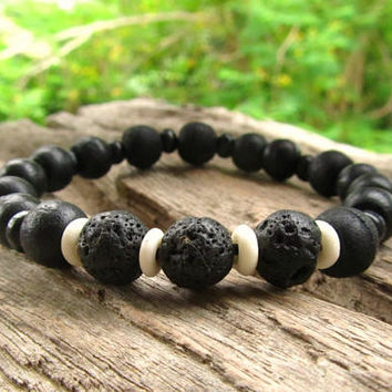 Mens Beaded Bracelet with 3 Lava Stones/Rocks, Black Wooden Beads & White Bone  / Mala Style Ethnic Boho Surfer Wristband / Men's Jewellery