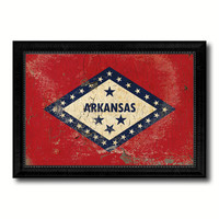 Arkansas State Vintage Flag Canvas Print with Black Picture Frame Home Decor Man Cave Wall Art Collectible Decoration Artwork Gifts