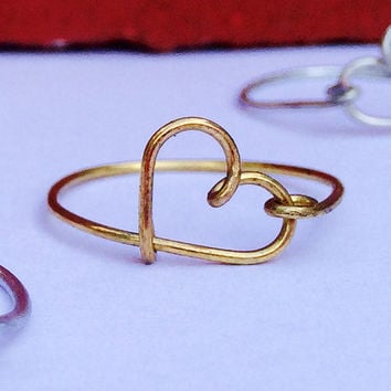 Wire Wrap Heart Ring, Heart Ring