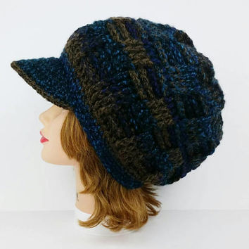 Slouchy Beanie With Brim - Visor Hat - Newsboy Hat - Crochet Hat in Blue Black Brown - Crochet Women's Hat - Men's Hat - Brimmed Beanie