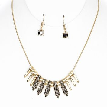 Matte Finish  Spike Bib Pave Crystal Stone Link Chain Necklace Earring Set