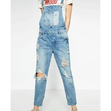 Spring Women Ripped Denim Jumpsuit Light Blue Overall Elegant Pocket Plus Size Casual Ladies Bodysuit Rompers Washed XCJP612