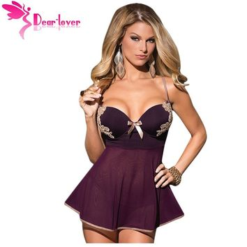 Womens Microfiber and Mesh Babydoll Lingerie with Thong Sexy Sleepwear dress pajamas