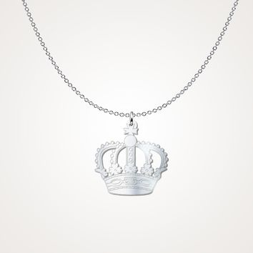Sterling Silver King Crown Necklace