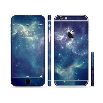 The Subtle Blue and Green Nebula Sectioned Skin Series for the Apple iPhone 6s Plus