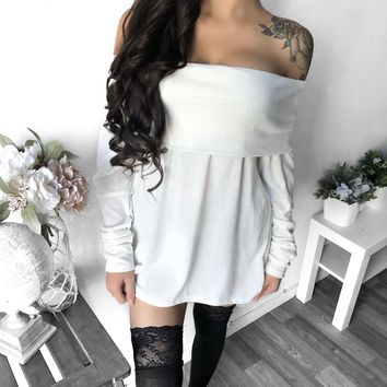 FULLY STOCKED - Kayleigh Off Shoulder Oversized Sweater (IVORY)
