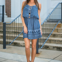 Tie Dye Up In The Sky Dress, Navy