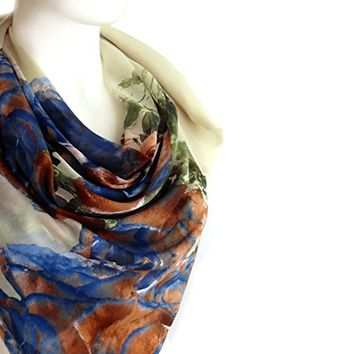 BUY ANY 3 GET 1 OF THEM FREE, Christmas gift, autumn scarf, cotton scarf, green brown blue, square scarf, fall fashion, girlfriend gift, large scarf, valentines day gift