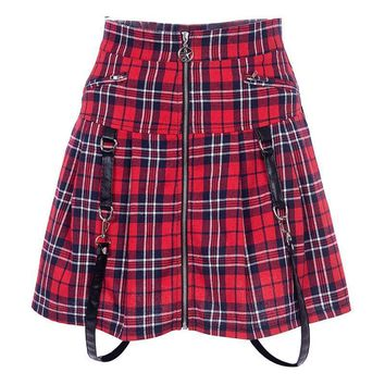 Gothic A-line Mini Skirt Women Zipper Punk Pleated Plaid