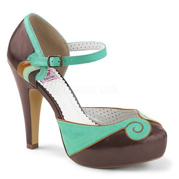Pin Up Couture Bettie-17 Teal Brown Swirl Pump