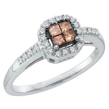Ladies White Gold Champagne Brown Diamond Bridal Engagement Ring 0.25CT
