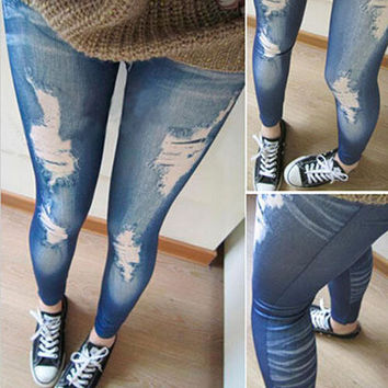 Punk Jeans Legings Women Hot Slim False Hole Imitation Jeans Womens Fitness Legins Shiny Legging Femme Slim Jeggings