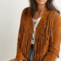Fringed Genuine Suede Jacket