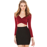 V-Neck Long Sleeve Crop Top