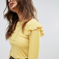 Nobody's Child Long Sleeve Top In Stripe With Frills at asos.com