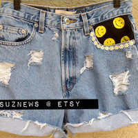 High Waisted Daisy Smiley Face Happy Face 90's Dip Dyed Size 28 Flower Power //SUZNEWS ETSY STORE//