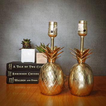 PAIR of Vintage Brass Pineapple Lamps, Hollywood Regency Lighting