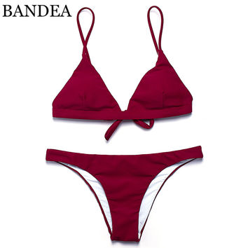 BANDEA 2017 Hot sling bikini solid color women swimwear bikini set swimsuit Very cheeky brazilian bottom Maillot De Bain Bikini