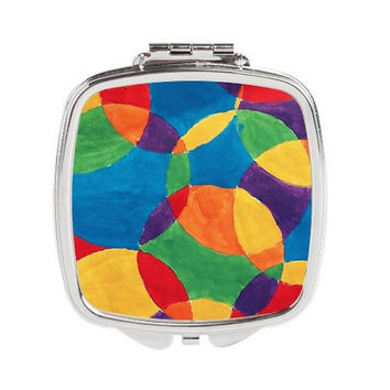 Pocket Mirror - FREE shipping to USA abstract art print bright colors circle geometric pattern double mirror silver compact purse mirrors