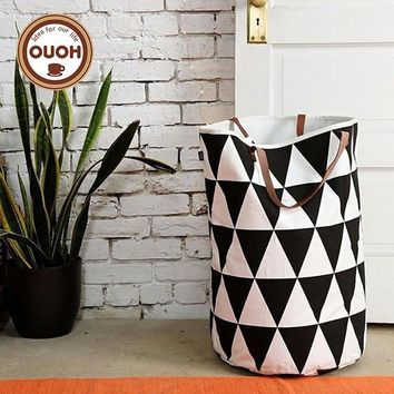 Canvas Laundry Basket/Storage Bag With Leather Handles