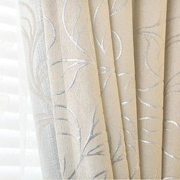 Chenille Jacquard Leaves Window Curtain