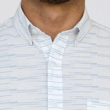 White with Blue Jacquard Pattern Short Sleeve Shirt - NUNO