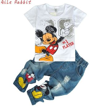 Children's wear Autumn Summer Baby kid Boys Mickey clothing 2018 sets T-shirt + Hole jeans pants 2pcs set boy children Clothes
