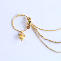 Bollywood Gold Kundan Non Pierced Ear Nose Ring