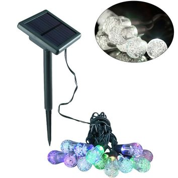 Solar Powered String Light Garland Bubble Bulbs Waterproof Wall Lamp