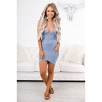 No Time Wasted Striped Bodycon (Blue)