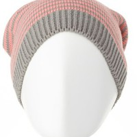 Striped Knit Beanie by Charlotte Russe - Coral