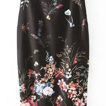Black High Waist Floral Printed Bodycon Pencil Skirt