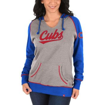 Women's Chicago Cubs Majestic Gray Absolute Confidence Hoodie