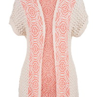 Patterned Open Stitch Short Sleeve Cardigan - Coral