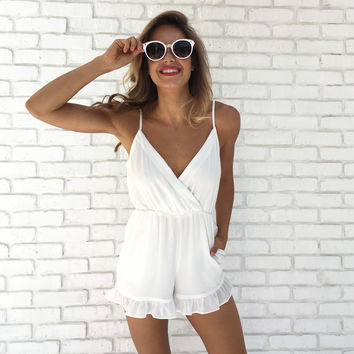 Quick To Love Romper In White