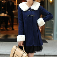 Women Navy blue cony Wool Cape Cashmere coat by AngelCity2012