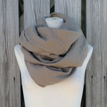 Mad Max Scarf - Coffee Brown Linen Scarf - Mocha Brown Scarf - Linen Flax Scarf - Unisex Scarf