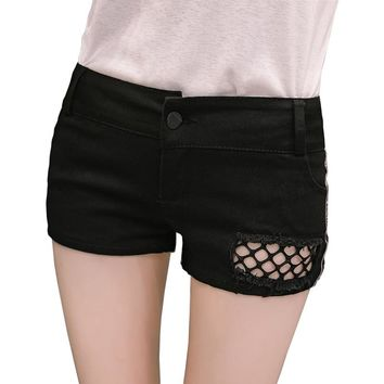 Low Waist Hot Short Shorts for Women Sexy Denim Cotton Slim Jeans Shorts Cute Mini Short Club Wear Hollow Thin Short Feminino