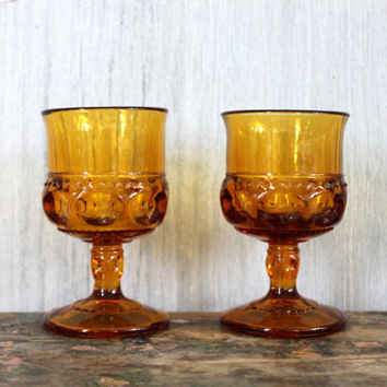 "vintage ""king's crown"" or ""thumbprint"" goblets // amber glass // indiana glass co. // 4oz juice glasses"