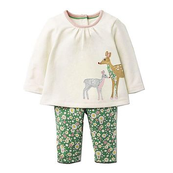 Baby Girls Clothing Sets with Animal Appliques Autumn Kids Clothes Girls Outfit Children Set Tracksuit