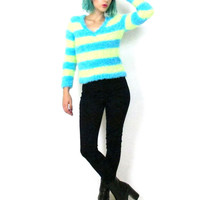 90s Fuzzy Neon Striped Sweater Fluffy Club Kid Cropped Jumper Soft Winter Goth Pullover Shaggy Rave Furry V Neck Winter Sweater (XS/S)