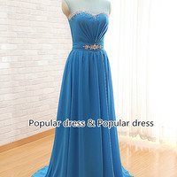 New Arrival Evening Dresses Blue Chiffon Prom Dresses Long Sexy Prom Dresses sleeveless prom dress  party dress custom prom dress /A030