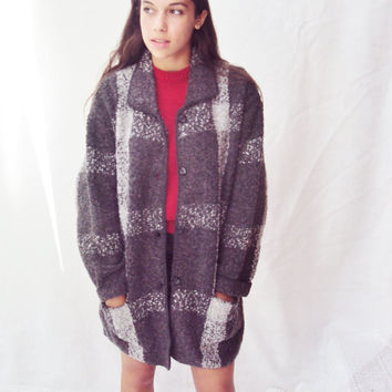 vintage 80s Gray Plaid Sweater Coat jacket Blazer S, M Checkered Tartan Plaid Schoolgirl