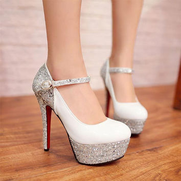 2015 Glitter Patent Leather Platform Pumps fashion wedding party women red bottom Mary Janes pumps lady high heels shoes V651
