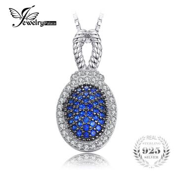 JewelryPalace Vintage 0.32 ct Created Blue Spinel Pave Pendants For Women Fine 925 Sterling-Silver-Jewelry Not Include A Chain
