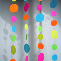 Neon Paper Garland Ready to Ship by HookedonArtsNCrafts on Etsy