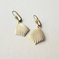 Art Deco Fan Earrings. Vintage Golden Brass. Vintage Minimalist.