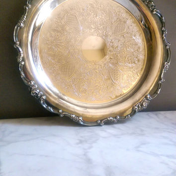 Lunt Silverplate Tray/ Antique Silver Serving Tray/ Victorian Silver Plate Tray/ LUNT Silversmiths Round Serving Tray, 11""